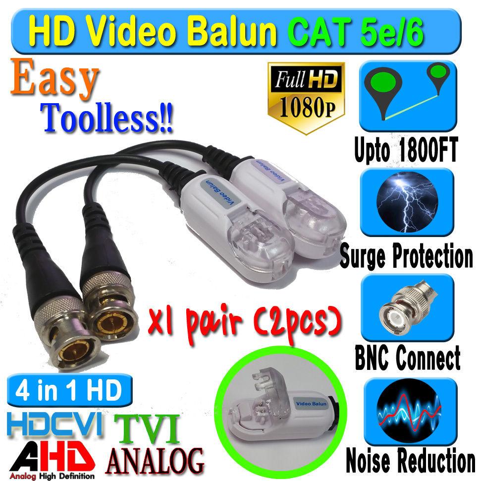 4 pair 8pcs CCTV BNC Video Power HD Balun CAT5e 6 Surge Protect 1080P 720P 960H